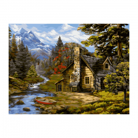 Set pictura pe numere, cu sasiu, Cabana in padure, 40x50 cm0