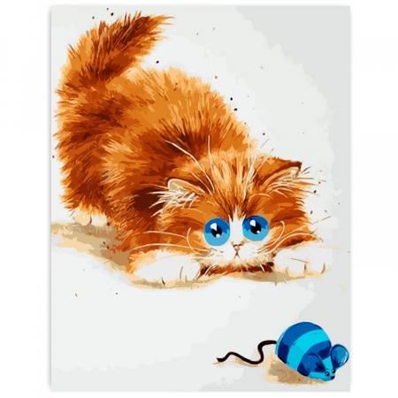 Set pictura pe numere, cu sasiu, Soarelece si pisica, 30x40 cm0