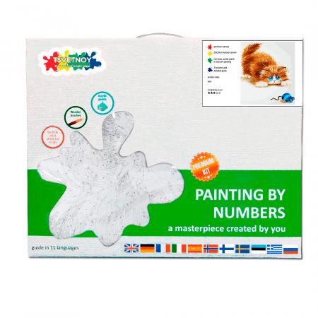 Set pictura pe numere, cu sasiu, Soarelece si pisica, 30x40 cm3