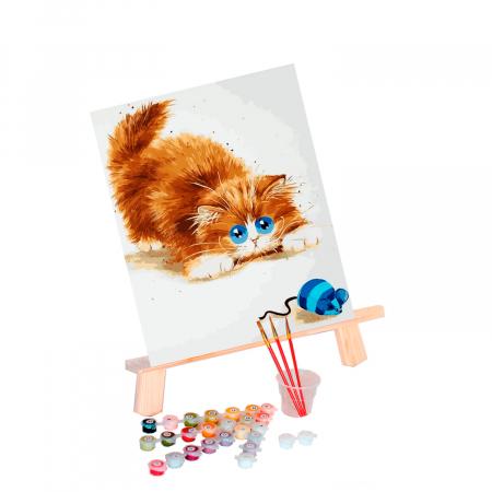 Set pictura pe numere, cu sasiu, Soarelece si pisica, 30x40 cm1
