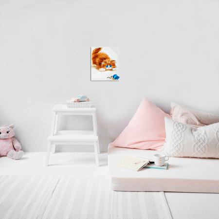 Set pictura pe numere, cu sasiu, Soarelece si pisica, 30x40 cm4