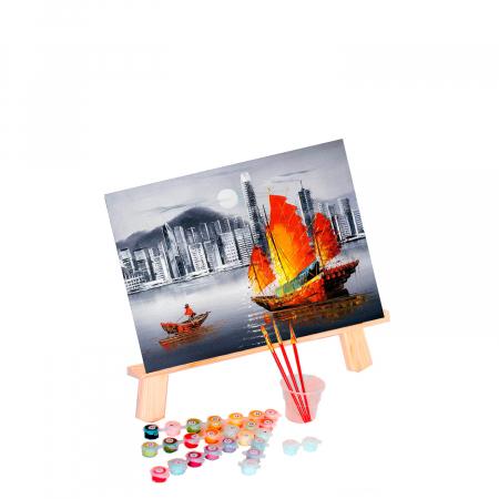 Set pictura pe numere, cu sasiu, Hong Kong by Night, 40x50 cm0