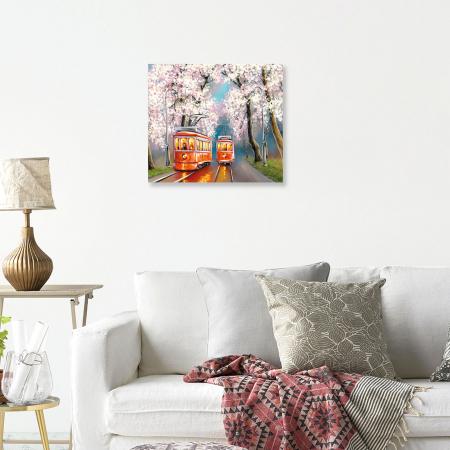 Set pictura pe numere, cu sasiu, Tramvai de primavara, 40x50 cm3