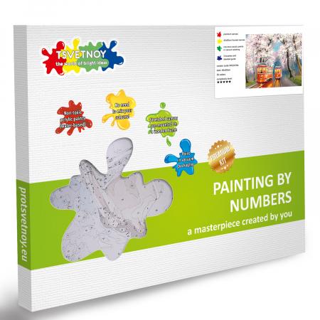 Set pictura pe numere, cu sasiu, Tramvai de primavara, 40x50 cm5