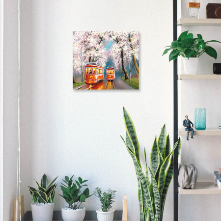 Set pictura pe numere, cu sasiu, Tramvai de primavara, 40x50 cm4