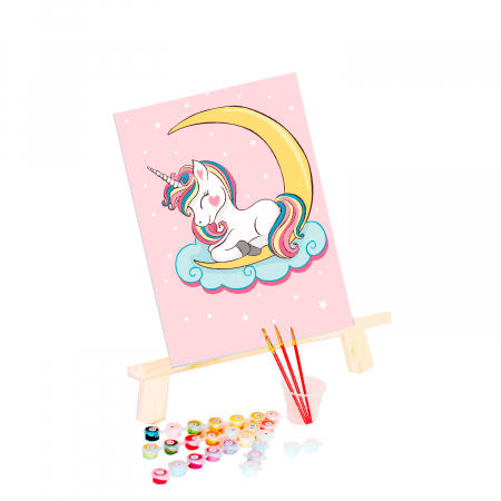 Set pictura pe numere, cu sasiu, Unicorn visator, 20x30 cm1