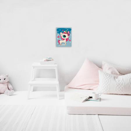 Set pictura pe numere, cu sasiu, Unicornul magic 20x30 cm4