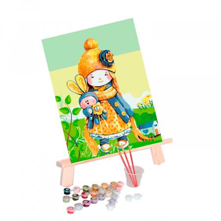 Set pictura pe numere, cu sasiu, Baby Doll, 30x40 cm0