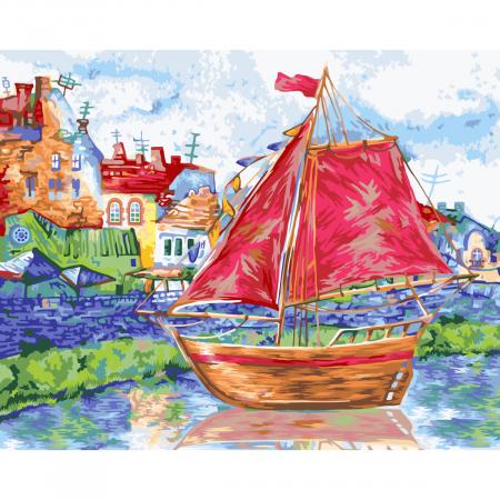 Set pictura pe numere, cu sasiu, Barca cu vele, 40x50 cm0