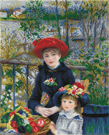 Goblen cu diamante, Doua surori pe terasa - Renoir, 42x52 cm [0]