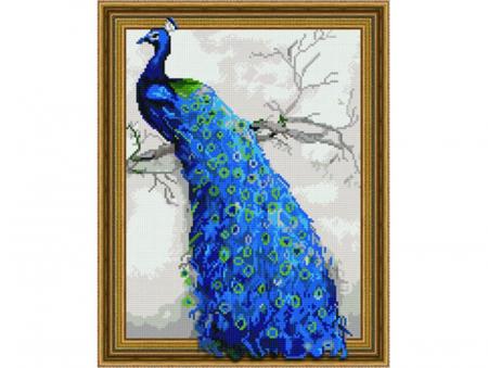 Goblen cu diamante, Paun albastru, 40x50 cm [0]