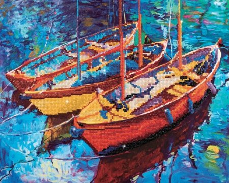 Goblen cu diamante, Trei barci pe apa, 38x47 cm [0]