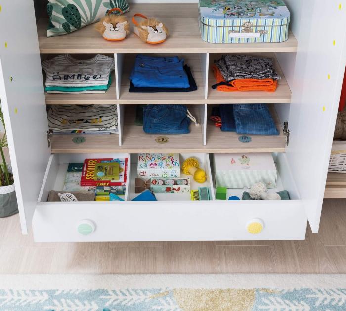 Dulap cu 3 usi cu sertar, pentru camera copii, Colectia Montessori [5]