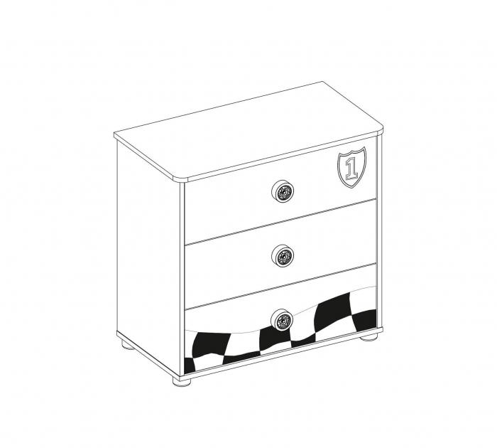 Comoda cu 3 sertare, pentru camera baieti, colectia Race Cup [3]