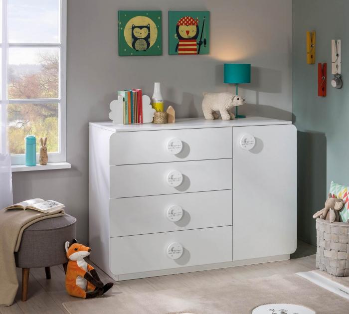 Comoda cu 4 sertare si usa, pentru camera copii, colectia Baby Cotton [1]