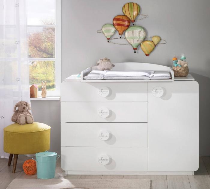 Comoda cu 4 sertare si usa, pentru camera copii, colectia Baby Cotton [2]