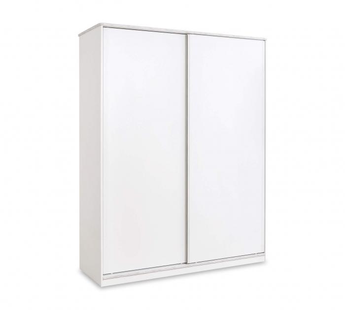 Dulap cu 2 usi glisante pentru tineret Colectia White, 164x59x206 cm [0]