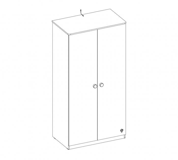 Dulap cu 2 usi pentru camera copii Colectia Mocha 93x56x181 cm [3]