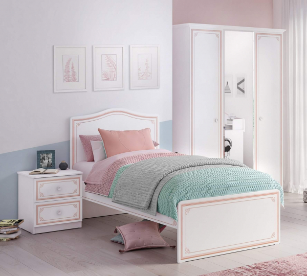 Dulap cu 3 usi si oglinda pentru camera fetelor, Colectia Selena Pink [2]