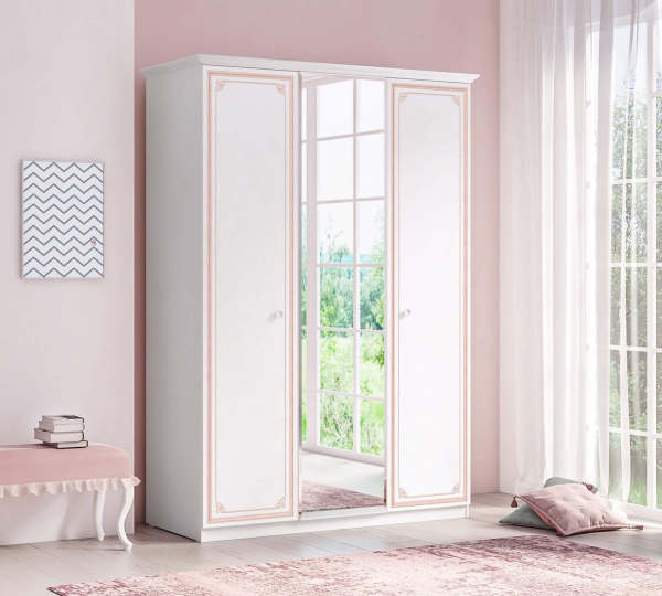 Dulap cu 3 usi si oglinda pentru camera fetelor, Colectia Selena Pink [1]