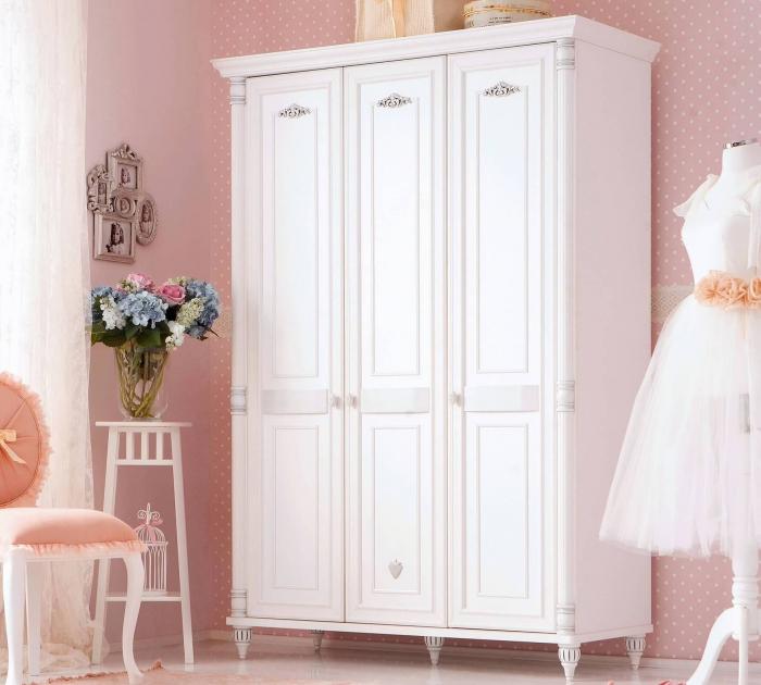 Dulap cu 3 usi, pentru copii si tineret Romantic White, 140x58x203 cm [1]