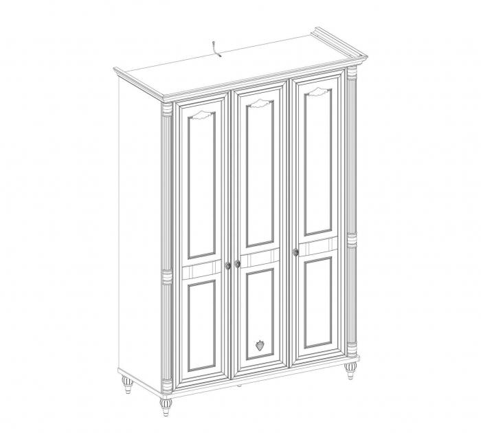 Dulap cu 3 usi, pentru copii si tineret Romantic White, 140x58x203 cm [6]