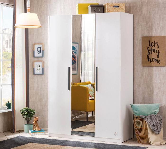Dulap cu 3 usi si oglinda, pentru tineret Colectia White, 135x44x209 cm [1]
