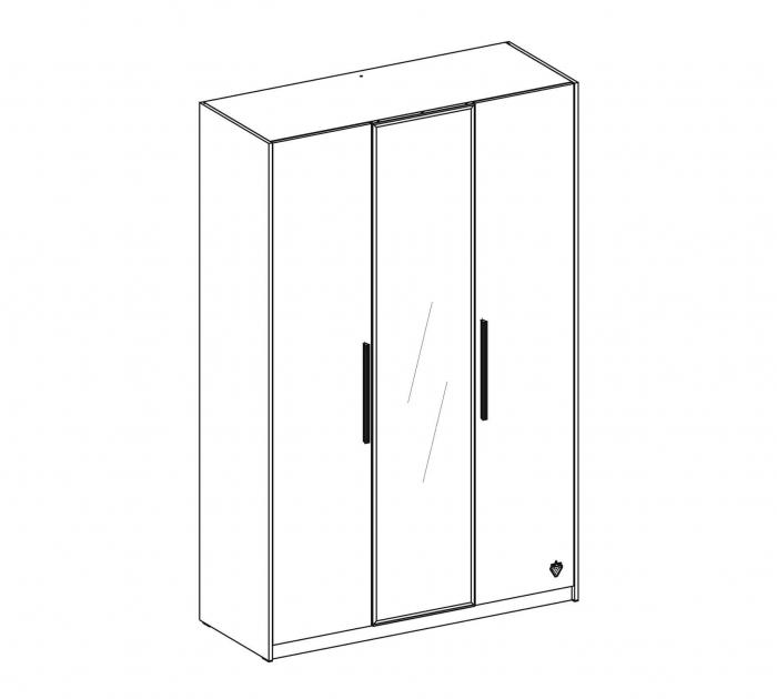 Dulap cu 3 usi si oglinda, pentru tineret Colectia White, 135x44x209 cm [3]