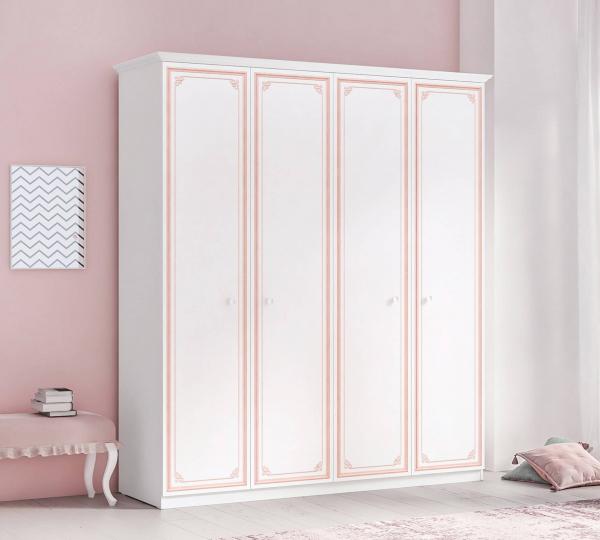 Dulap cu 4 usi pentru camera fetelor, Colectia Selena Pink [1]