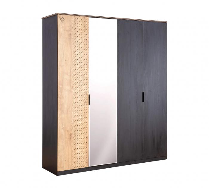 Dulap cu 4 usi si oglinda, pentru tineret Colectia Black, 182x53x210 cm [0]