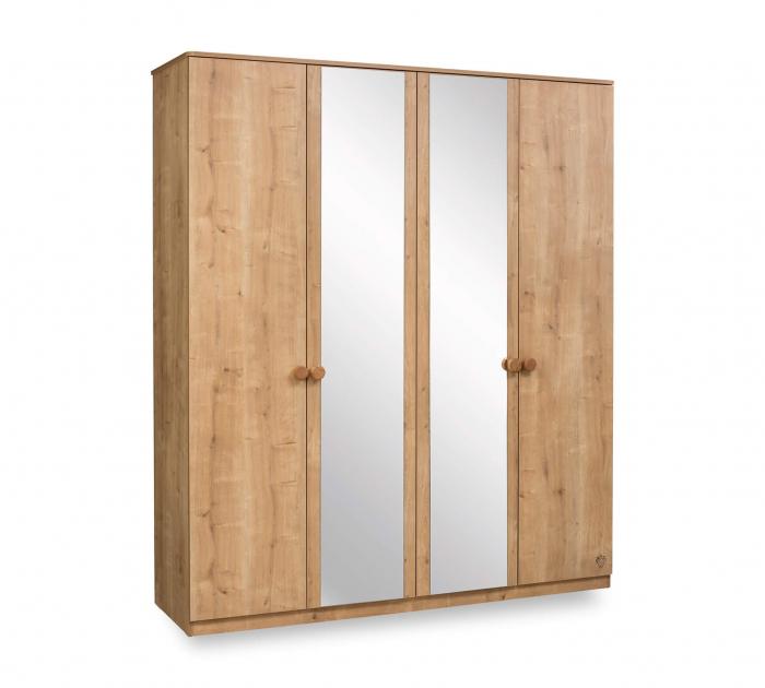 Dulap cu 4 usi si oglinda, pentru tineret Colectia Mocha, 183x56x210 cm [0]