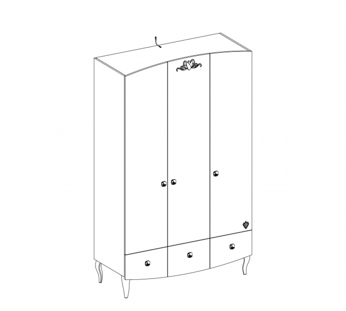 Dulapul cu 3 usi si 3 sertare,  pentru camera fetelor Colectia Yakut [3]