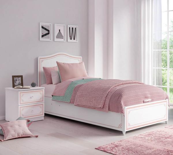 Pat cu lada depozitare 100x200 cm pentru camera fetelor, Colectia Selena Pink [1]