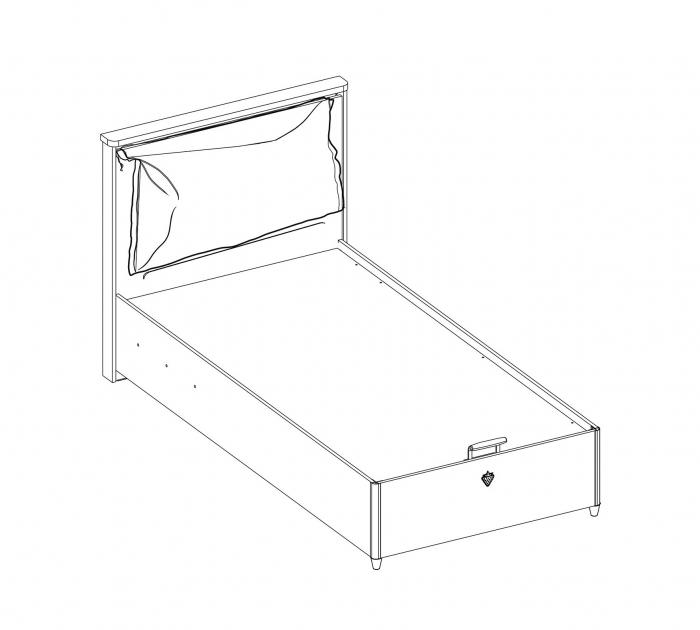 Pat cu lada depozitare pentru camera copii, adolescenti Colectia Mocha 100x200 cm [3]