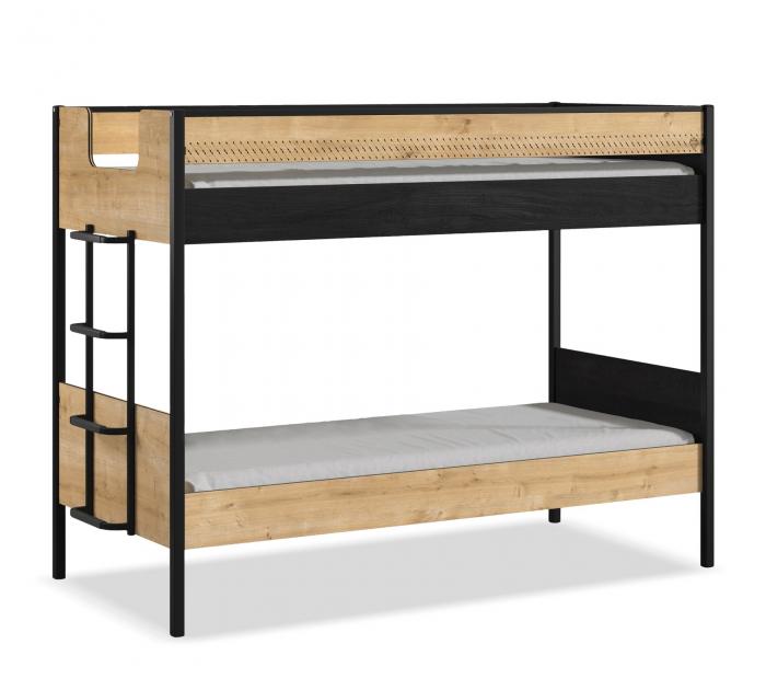 Pat etajat pentru copii, Colectia Black Line, 90x 200 cm [0]