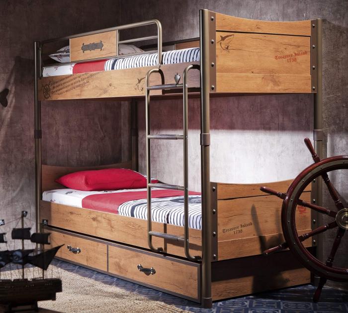Pat etajat pentru copii, Colectia Pirate, 90x 200 cm [1]