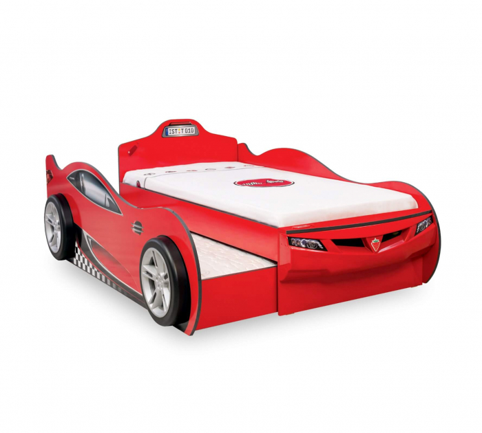 Pat masinuta rosie COUPE CARBED pentru copii Chisinau [0]