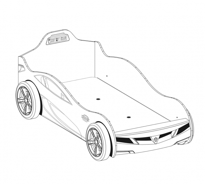 Pat masina Coupe-alba, colectia Champion Racer 90x190 Cm [2]
