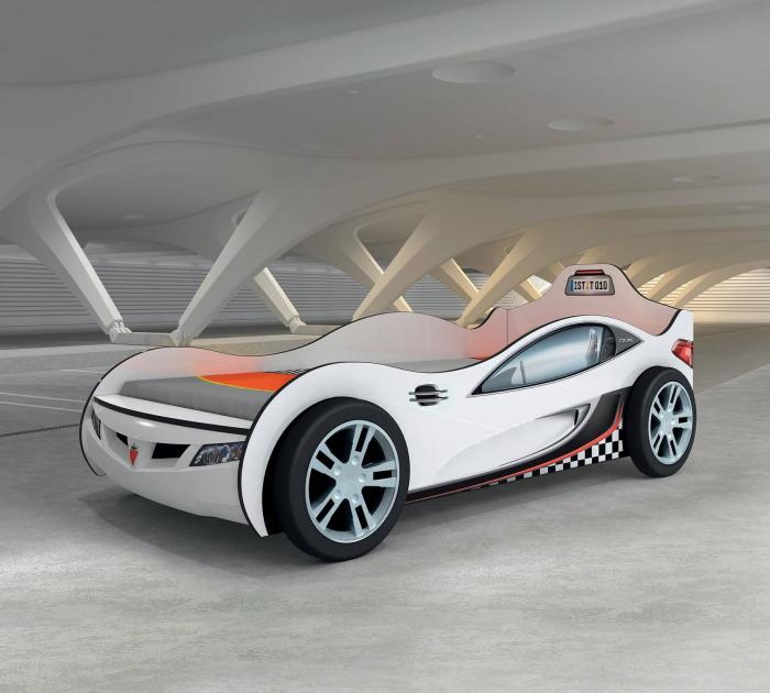 Pat masina Coupe-alba, colectia Champion Racer 90x190 Cm [1]