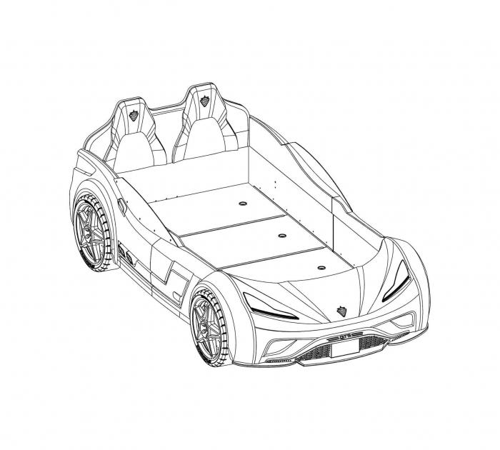 Pat masina GTS-bleu, colectia Champion Racer 99x191 cm [5]