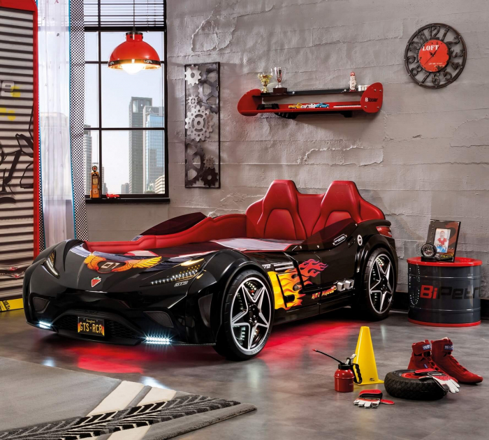 Pat masina GTS-negru, colectia Champion Racer 99x191 cm [1]