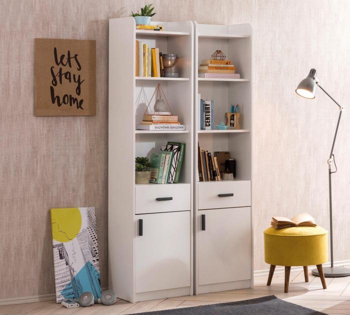 Rafturi pentru carti, camera copii si adolescenti, Colectia White 44x36x184 cm [1]