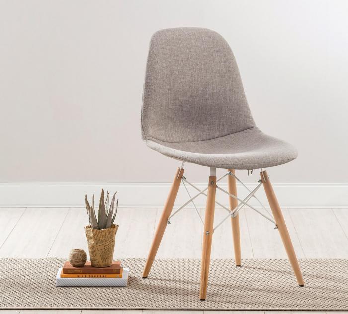 Scaun pentru copii, tapitat cu stofa cu picioare din lemn Quatro Chair Beige [1]
