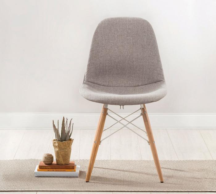 Scaun pentru copii, tapitat cu stofa cu picioare din lemn Quatro Chair Beige [3]
