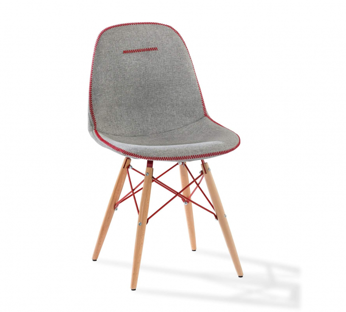 Scaun pentru copii, tapitat cu stofa cu picioare din lemn Quatro Chair Grey [0]