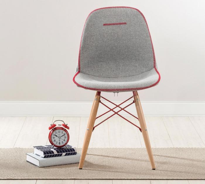 Scaun pentru copii, tapitat cu stofa cu picioare din lemn Quatro Chair Grey [3]