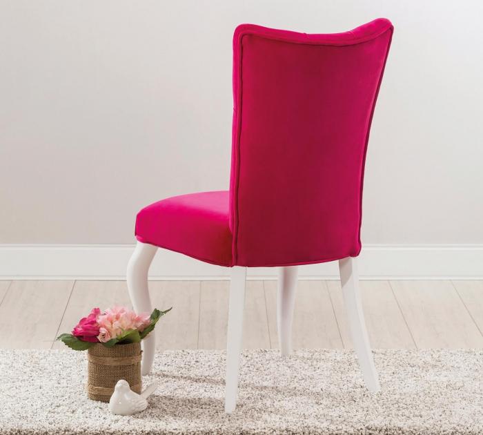 Scaun pentru copii, tapitat cu stofa cu picioare din lemn Rosa [4]