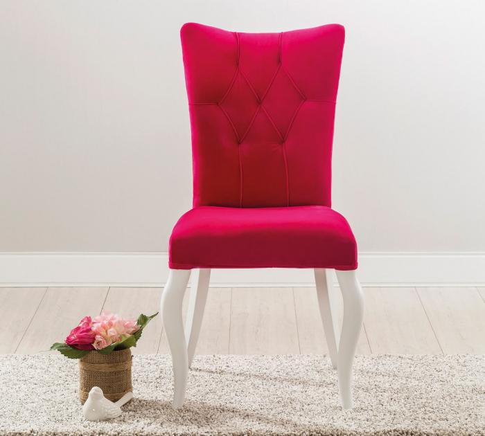 Scaun pentru copii, tapitat cu stofa cu picioare din lemn Rosa [2]