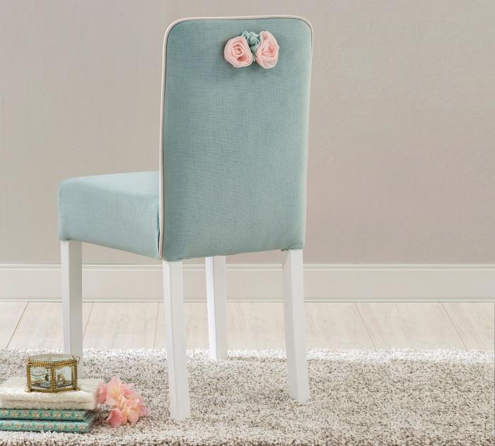 Scaun pentru copii, tapitat cu stofa cu picioare din lemn Summer Blue [4]
