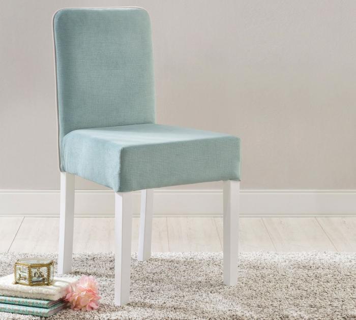 Scaun pentru copii, tapitat cu stofa cu picioare din lemn Summer Blue [1]